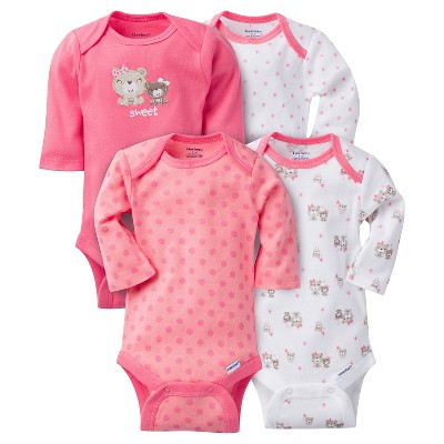 Baby Girls' 4 Pack Long Sleeve Bear Onesies Pink NB - Gerber®