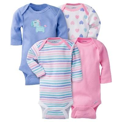 Baby Girls' 4 Pack Long Sleeve Zebra Onesies Purple 3-6M - Gerber®
