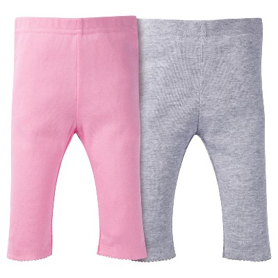 Baby Girls' 2 Pack Pull-on Pants Pink/Grey 0-3M - Gerber®