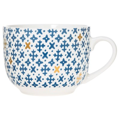 Clay Art Soup Mug 21oz Porcelain Set of 4 Blue Cross