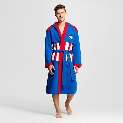 Marvel Captain America Men's Hooded Robe - Royal Blue L/XL