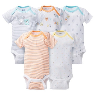 Baby 5 Pack Short Sleeve Bear Onesies Grey 0-3M - Gerber®