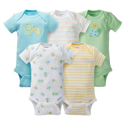 Baby 5 Pack Short Sleeve Frogs Onesies Aqua NB - Gerber®