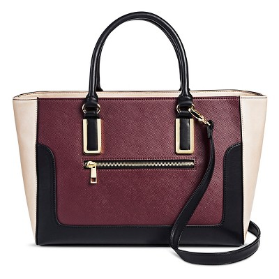 Women's Faux Leather Satchel Handbag Burgundy - Mossimo Black™
