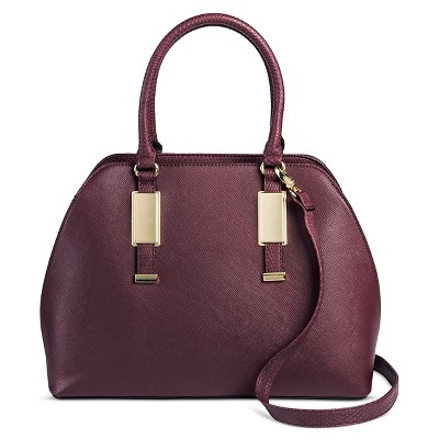 Women's Faux Leather Dome Handbag Burgundy - Mossimo Black™