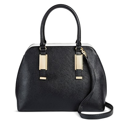 Women's Faux Leather Dome Handbag Black - Mossimo Black™
