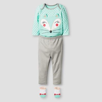 Vitamins Baby® Baby Girls' Fox 3 Piece Set - Grey 3M
