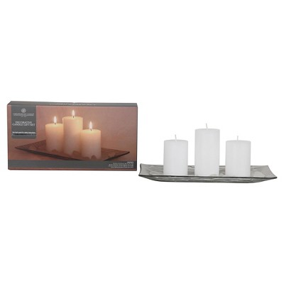 Pillar Candle with Plate 3 pack - Chesapeake Bay