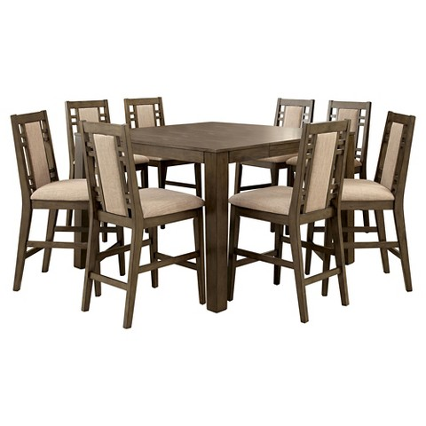 Counter Height Modern Table : Piece Modern Bold Counter Height Table Set - Weathered Gray product ...