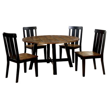 page 7 piece plank style round dining set antique oak and black