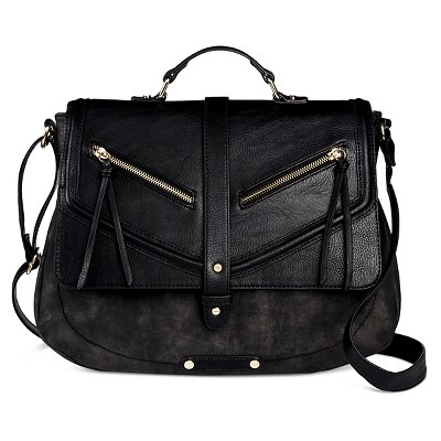 A+ Women's Faux Leather School Crossbody Handbag with Snap Closure - Black