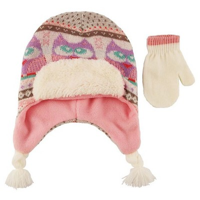 Toddler Girls' Owl Fairisle Knit Peruvian and Mittens Set Pink 2T-4T