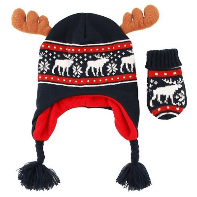 Toddler Boys' Moose Fairisle Knit Peruvian and Mittens Set Blue 2T-4T