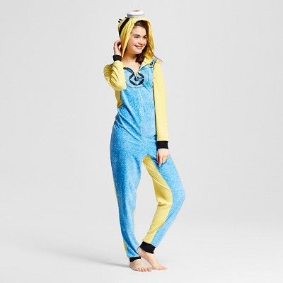 Women's Minions One Piece Hooded Union Suit Pajamas - Blue L/XL