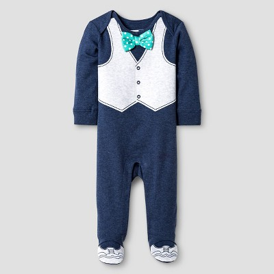 Vitamins Baby® Baby Boys' Footed Coverall with Bow Tie - Blue 3M