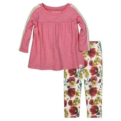 Burt's Bees Baby Toddler Girls' Crochet Sleeve Tee & Legging 6 - Poppy Pink