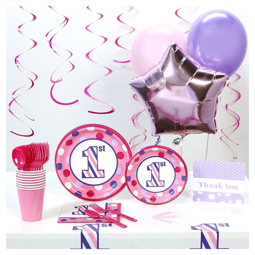 1st Birthday Girl Sweet Stripes Basic Party Kit, Multi-Colored