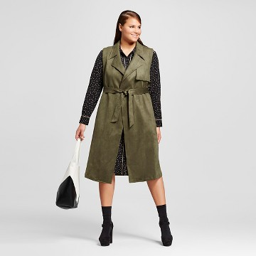 Women's Plus Size Suede Sleeveless Trench Vest - Who What Wear™
