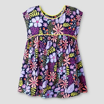 Baby Girls' A Line Floral Piped Dress Navy - Cat & Jack™