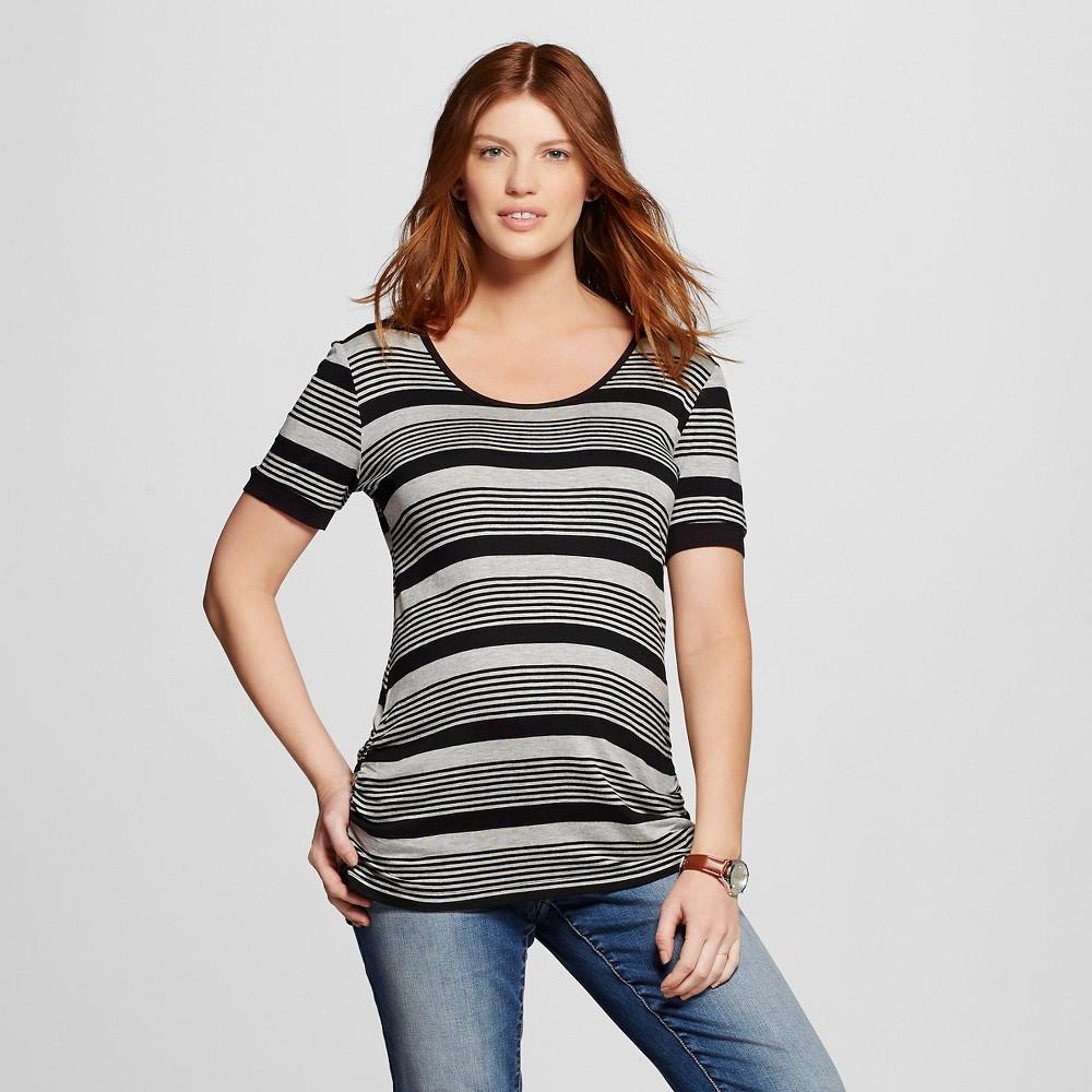 Maternity Short Sleeve Stripe Criss Cross Back TopHeather Gray/Black S - MaCherie, Women's, Size: Small, Heather Gray/Black
