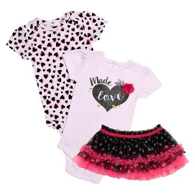 Baby Starters® Baby Girls' 3 Piece Love Bodysuit & Tutu Skirt - White 3M