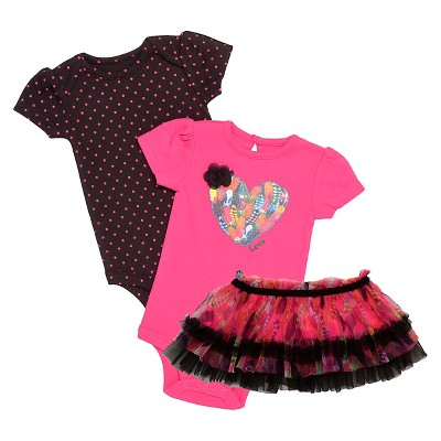 Baby Starters® Baby Girls' 3 Piece Feather Bodysuit & Tutu Skirt - Pink 6M