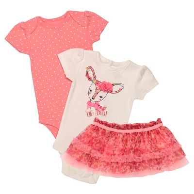 Baby Starters® Baby Girls' 3 Piece Deer Bodysuit & Tutu Skirt - Ivory 6M