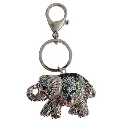 Women's Key Ring Elephant with Stones- Silver