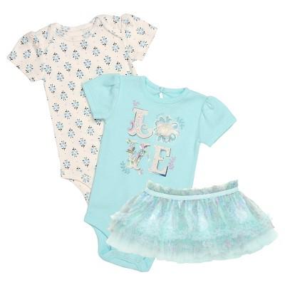 Baby Starters® Baby Girls' 3 Piece Bodysuit & Tutu Skirt - Blue 6M