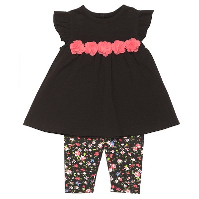 Baby Starters® Baby Girls' 2 Piece Floral Legging Set - Black 9M