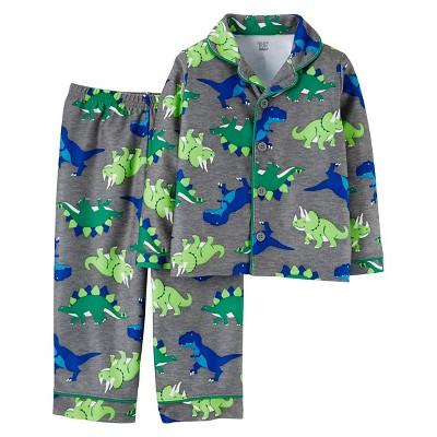Toddler Boys' Long-Sleeve Fleece Coat Pajama Set Grey Dinosaur 2T - Just One You™Made by Carter's®