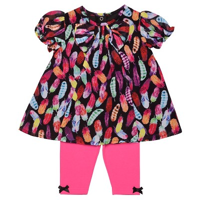 Baby Starters® Baby Girls' 2 Piece Feather Legging Set - Pink 9M