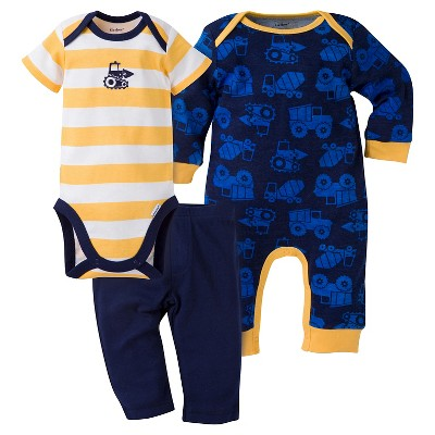Gerber® Baby Boys' 3-Piece Coverall, Short-Sleeve Onesie® & Pant - Construction 0-3M