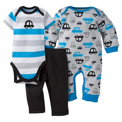 Gerber® Baby Boys' 3-Piece Coverall, Short-Sleeve Onesie® & Pant - Cars 0-3M