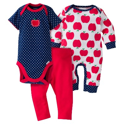 Gerber® Baby Girls' 3-Piece Coverall, Short-Sleeve Onesie® & Legging - Apple 6-9M