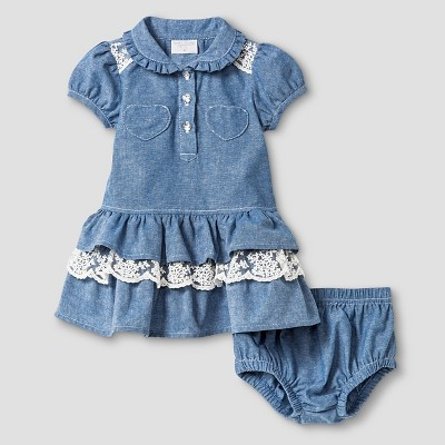 Baby Grand Signature™ Baby Girls' Long Sleeve Chambray Dress & Bloomer Set - Blue 3-6M