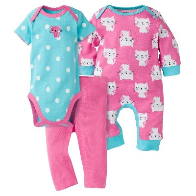 Gerber® Baby Girls' 3-Piece Coverall, Short-Sleeve Onesie® & Legging - Kitty 6-9M