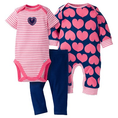 Gerber® Baby Girls' 3-Piece Coverall, Short-Sleeve Onesie® & Legging - Hearts 0-3M