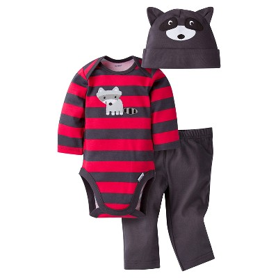 Gerber® Baby Boys' 3-Piece Long-Sleeve Onesie®, Pant & Cap - Raccoon 0-3M