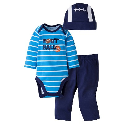 Gerber® Baby Boys' 3-Piece Long-Sleeve Onesie®, Pant & Cap -  Football 0-3M