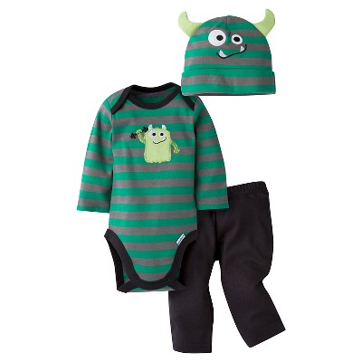 Gerber® Baby Boys' 3-Piece Long-Sleeve Onesie®, Pant & Cap -  Monster 0-3M