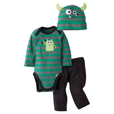 Gerber® Baby Boys' 3-Piece Long-Sleeve Onesie®, Pant & Cap -  Monster 3-6M