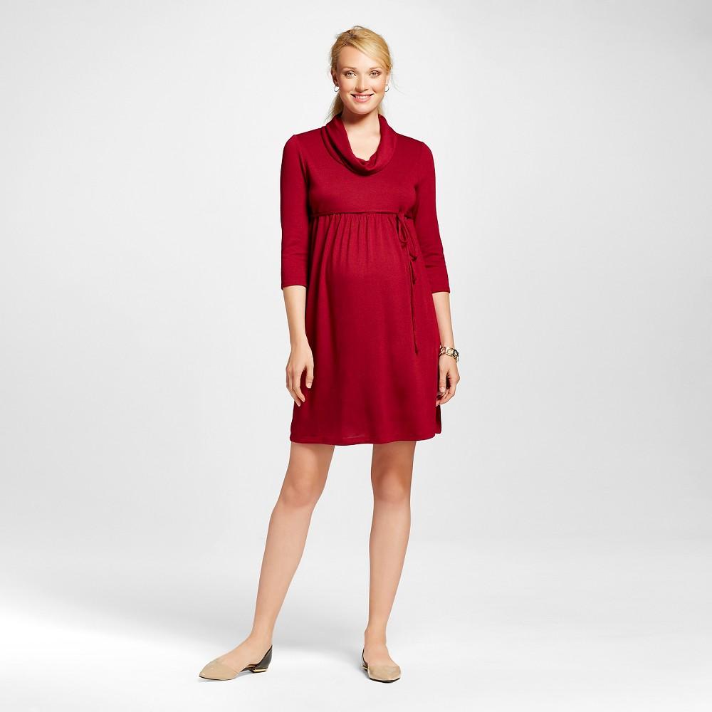 Maternity 3/4 Sleeve Cowl Neck Dress Biking Red S - MaCherie, Women's, Size: Small