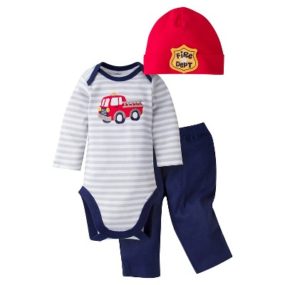 Gerber® Baby Boys' 3-Piece Long-Sleeve Onesie®, Pant & Cap -  Firetruck 0-3M
