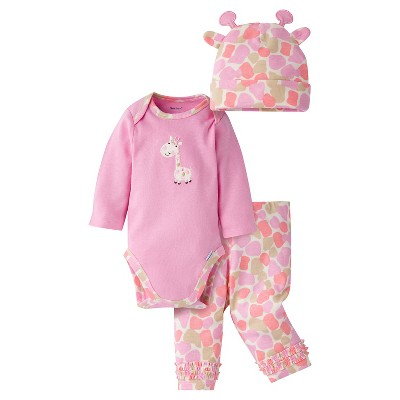 Gerber® Baby Girls' 3-Piece Long-Sleeve Onesie®, Legging & Cap - Giraffe 6-9M