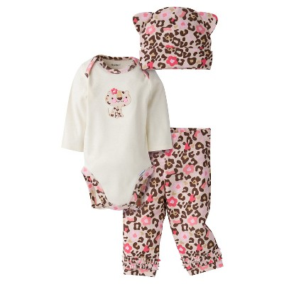 Gerber® Baby Girls' 3-Piece Long-Sleeve Onesie®, Legging & Cap - Leopard 3-6M
