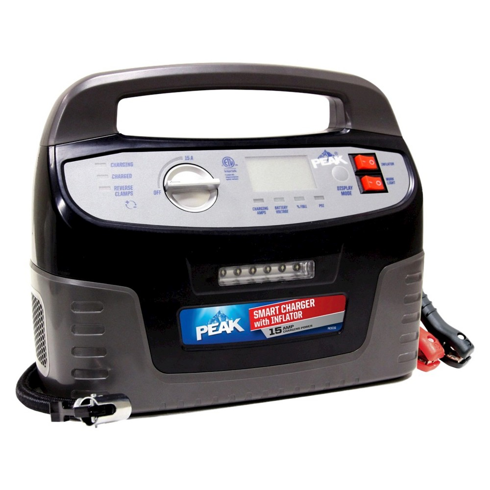 Peak 15 Amp Smart Charger with Inflator