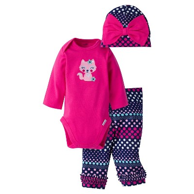 Gerber® Baby Girls' 3-Piece Long-Sleeve Onesie®, Legging & Cap - Fox 3-6M