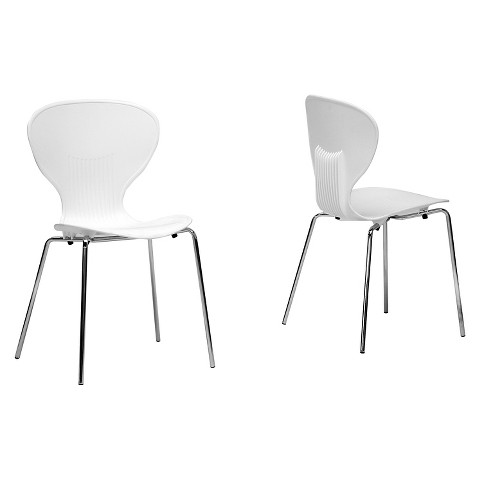 Boujan Plastic Modern Dining Chair White Set Target