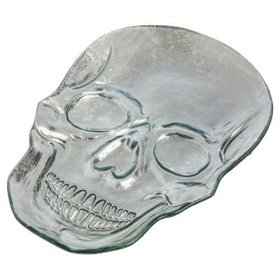 """Skull-Shaped Glass Platter 12"""""""